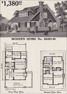 Modern Home No. 264B145  1916 SEARS ROEBUCK MODERN| Sears' Plan No. 264B145 (later named the Arlington) is a large home with grand spaces. Its bat-wing dormer and stone fireplace certainly would have appealed to home buyers who were looking for a distinctive appearance but for whom the Craftsman-style was prerequisite.
