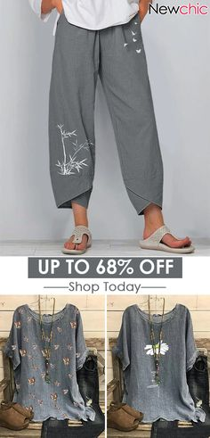 pants with embroidery - peach Casual Summer Outfits, Trendy Outfits, Cool Outfits, Sewing Summer Dresses, Ropa On Line, Bluse Outfit, Plus Sise, Boho Fashion, Fashion Outfits