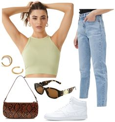 Madison Beer Outfit: lime green ribbed cropped tank top, straight leg jeans, chunky gold hoop earrings, tortoise gold medallion sunglasses, crocodile shoulder bag, and white high top sneakers #celebrityfashion #celebritystyle #celebrityoutfits #madisonbeer Celebrity Style Casual, Celebrity Outfits, Trendy Outfits, College Fashion, 70s Fashion, Fashion Trends, French Fashion, Fashion Wear, Korean Fashion