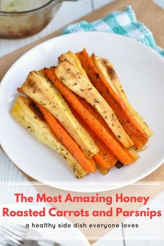 These honey roasted carrots and parsnips really are amazing! They're a delicious healthy side dish and go with absolutely everything. 100 calories per serving. #Healthy #Food #Recipe #Veggies #Vegetables #Vegetarian #Side #SideDish #CleanEating #Parsnips #Carrots #GlutenFree #GF #LowFODMAP #GlutenFreeRecipe #Dinner #GFRecipe #LowFODMAPRecipe #HealthyRecipe #HealthyDinner Vegetable Dishes, Vegetable Recipes, Vegetarian Recipes, Cooking Recipes, Healthy Recipes, Sprout Recipes, Side Recipes, Fruit Recipes, Family Recipes