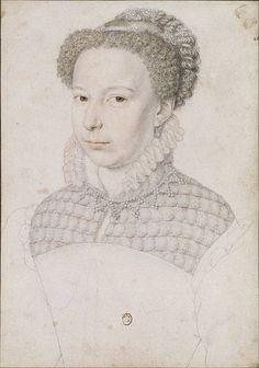 """1572 Marguerite de Valois called """"La reine Margot"""" upon marriage at 19 to Henry of Navarre (later Henri IV), by François Clouet.  She was imprisoned  in Usson in Auvergne from 1587 - 1605.  The marriage was annulled in 1599 and she was allowed to return to Paris in 1605.  Her hair is pinned by jewels. She wears a partlet of bubbled guimpe, standing ruff collar, small pearl drop earrings and a strand of small  pearls with pearl points."""