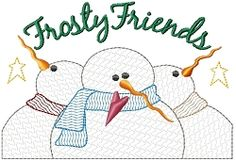 Frosty Friends Sampler | Primitive | Machine Embroidery Designs | SWAKembroidery.com HeartStrings Embroidery