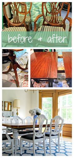 DINING TABLE & CHAIR MAKEOVER: A very inexpensive auction find, this antique dining set was transformed with paint & a little elbow grease.