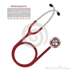 Red stethoscope. medical equipment for heart rate measurement. vector