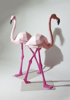 polygon sculpture flamingos by German artist Wolfram Kampffmeyer, aka Paperwolf