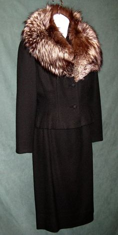 Vintage Lilli Ann 1950's Black Suit with Fox by RememberMeClothing, $425.00