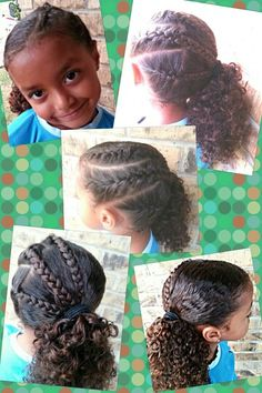 Triple French Braid Side Pony  Girls, hairstyle, easy, braids, mixed, biracial, natural, bkack, african, curly, curls, cute, hair, pretty