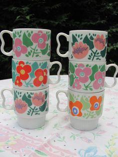 Mod Coffee Tea Cups Nevco Japan Flower Power by MamabirdsVintage, $17.00
