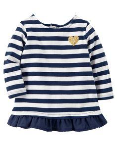 Baby Girl Ruffle-Hem Striped Shirt   Carters.com