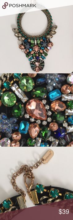 Large Gem Necklace Beautiful assorted gem and multi color necklace that sits at mid chest. New. Express Jewelry Necklaces