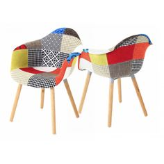 2x Fauteuil design multicolore Patchwork