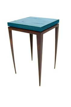 Blue Ceruse End Table — Custom Metal Work and Welding Classes in New York City Leather Furniture, Metal Furniture, Rustic Furniture, Cool Furniture, Furniture Design, Custom Metal Work, Glass Top End Tables, Coffee Table With Storage, Coffee Tables