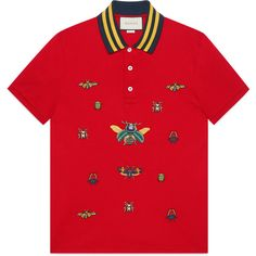 Gucci Cotton Polo With Insect Embroideries (14,420 MXN) ❤ liked on Polyvore featuring men's fashion, men's clothing, men's shirts, men's polos, red, mens embroidered shirts, mens button down collar shirts, mens red button down shirt, mens polo shirts and gucci mens shirts