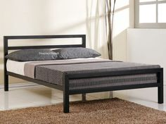 City Block Modern Charcoal Black Metal Bed Frame - 4ft Small Double