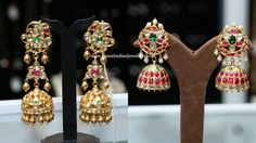 Kundan jhumka earrings from Sunitha jewelers in 22 carat gold embellished with precious stones. The long 2 step heavy jhumkas and ruby kundan jhumkas Jewelry Design Earrings, Gold Earrings Designs, Ear Jewelry, India Jewelry, Bead Jewellery, Bridal Jewelry, Gold Jewelry, Temple Jewellery, Trendy Jewelry