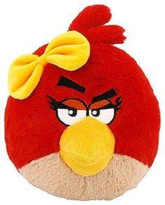 "Angry Birds 8/"" Plush Red Bird  8/""H x 7/""W No Sound"