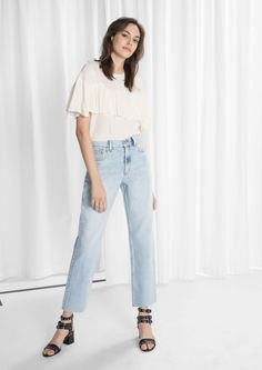 & Other Stories Straight Fit Raw Edge Jeans  in Light Blue