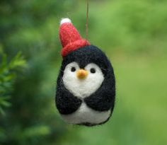 Needle Felted Penguin  Red Stocking Cap by scratchcraft on Etsy, $18.00