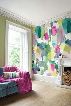 colorful bold wall living bluebellgray walls watercolor decor colour bedroom launch rooms designs awesome painting statement floral vinyl wallpapers fireplace