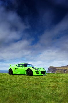 Electric Green Lotus Exige at Loch Pooltiel by Martyn Lewis, via Flickr