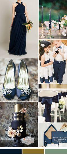 TBQP312 dark navy wedding color ideas - dark navy halter tulle bridesmaid dress