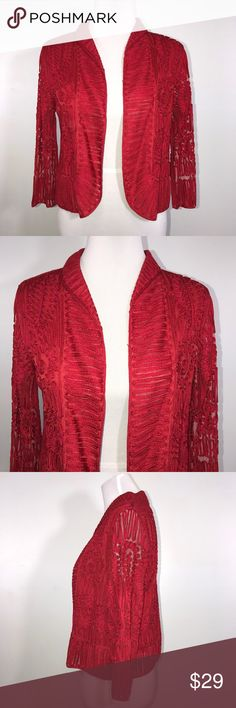 "Weavz Woman's Jacket Shrug S Red Weavz red jacket Shrug. Beautiful design. Great for formal outfit. Lined. Lying flat, approximate measurements are: bust 20""; waist 19""; hip 20""; length 20"". (B2-35)    🌼 No holes, piling or stains. Items stored in smoke free, pet free, perfume free environment. No trades or modeling. Same or next day shipping.  Save by bundling. All offers should be submitted with the offer button. Weavz Jackets & Coats"