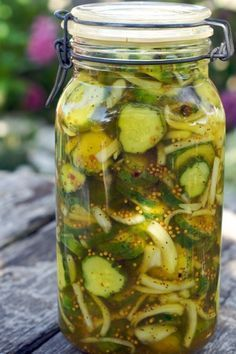 Homemade Bread and Butter Pickles.  My mom made these by the truckful practically when we were kids.