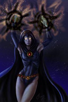 This time: Raven from Teen Titans. Dc Comics Superheroes, Dc Comics Art, Comics Girls, Marvel Dc Comics, Anime Comics, Raven Superhero, Raven Fanart, Raven Cosplay, Raven Beast Boy