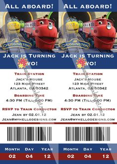 Birthday Invitations    Chuggington Train Ticket by myhellodesigns