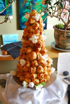 croque en bouche standing tall! Tasty cream puffs piled high ready to be enjoyed