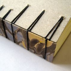 The Secret Belgian Binding with board covers and a marbled paper spine