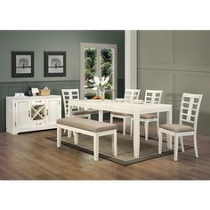 Pearl White 45-inch Beige Fabric Upholstered Bench - Overstock™ Shopping - Great Deals on Dining Chairs
