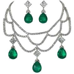 Preowned  Faux Diamond Emerald Necklace Earring Set ($2,600) ❤ liked on Polyvore featuring jewelry, earrings, green, emerald jewellery, faux diamond earrings, green earrings, emerald earrings and simulated diamond earrings