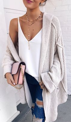 Grey Maxi Cardigan & White Silk Top & Ripped Skinny Jeans