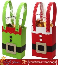 Santa and elf treat bags that are quick to make and could easily be made in volume whilst still cost effective!