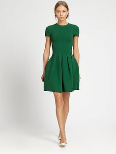 Green dress... Add a hounds tooth jacket and some black suede heels, and you're set for a holiday party!