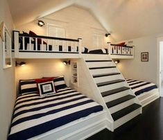can't get enough of this coastal kids room design with bunk beds & steps. - Home Decor - nice can't get enough of this coastal kids room design with bunk beds & steps… by cool-homedeco - Bunk Beds With Stairs, Kids Bunk Beds, Boys Bunk Bed Room Ideas, Bunk Beds Built In, Cool Bunk Beds, Bedroom For Kids, Corner Bunk Beds, Queen Bunk Beds, Custom Bunk Beds