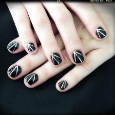 Demi Lovato's RockerNails -- Black and Silver Mani How To
