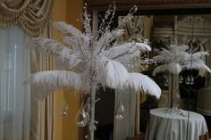 Crystal and Feather Centerpiece