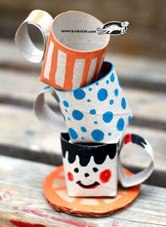 Toilet Paper Teacup Rolls | 15 Toilet Paper Roll Crafts For Kids