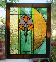"Stained Glass Window Panel ""Breath of Spring"" 