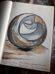 """British dame Barbara Hepworth studied with Henry Moore abstract sculpture. 'Pelagos' 1946 -means sea in greek-. Barbara Hepworth, Abstract Sculpture, Sculpture Art, Stone Sculpture, Garden Sculpture, Abstract Art, Artist Sketchbook, Pottery Sculpture, A Level Art"