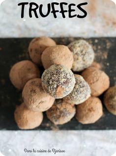 Recettes de truffes au chocolat, plus légère que la version classique au beurre.