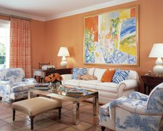 peach living room with blue