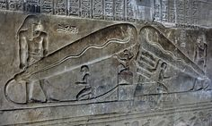 [EGYPT 'Harsomptus in Dendera.' A relief in the Hathor Temple at Dendera shows the god Harsomptus (also called Ihy) sitting on a throne. He was the child of Hathor of Dendera and Horus of Edfu. During a yearly festival Hathor traveled from Dendera Ancient Egyptian Art, Ancient Aliens, Ancient History, Cosmos, Luxor, Old Egypt, Weird Creatures, Ancient Civilizations, Archaeology