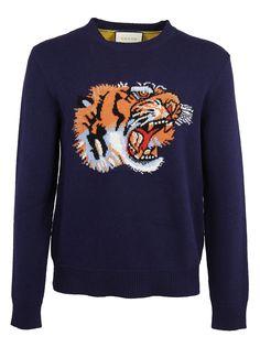 47d62b14e33 Gucci Tiger-intarsia contrast-back wool sweater