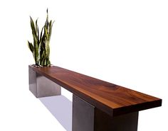 Concrete / Wood Planter Bench by TaoConcrete on Etsy