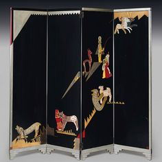 African-inspired motifs decorate a circa-1923 screen of lacquered wood inlaid with eggshell made by Jean Dunand and Jean Lambert-Rucki (1888–1967). It was exhibited in 1925 at the Exposition Internationale des Arts Décoratifs et Industriels Modernes.Estimate: $400,000–$600,000