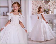 Ivory Flower Girl Dress - chiffon girls dress, tulle Toddler flower girl dress lace champagne lace d Flower Girl Gown, Toddler Flower Girl Dresses, Princess Flower Girl Dresses, Ivory Flower Girl Dresses, Toddler Girl Dresses, Dress Lace, Flower Girls, Chiffon Dress, Gowns For Girls
