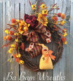 Fall Wreath Autumn Wreath Halloween Wreath by BaBamWreaths on Etsy